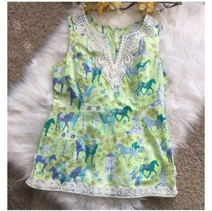 RARE Lilly Pulitzer Low Riders Horse Crochet Tunic